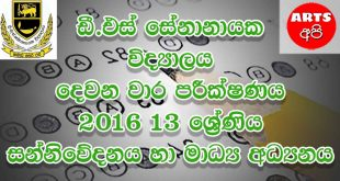 D S Senanayake College Second Term Test Media 2016 Grade 13